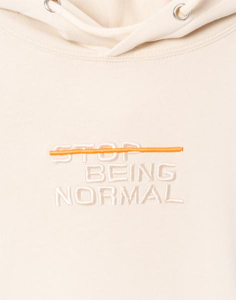 Бежевое худи oversize с вышивкой Stop being normal для мальчика BAC009195-1-04_1200Wx1200H 1200Wx1200H